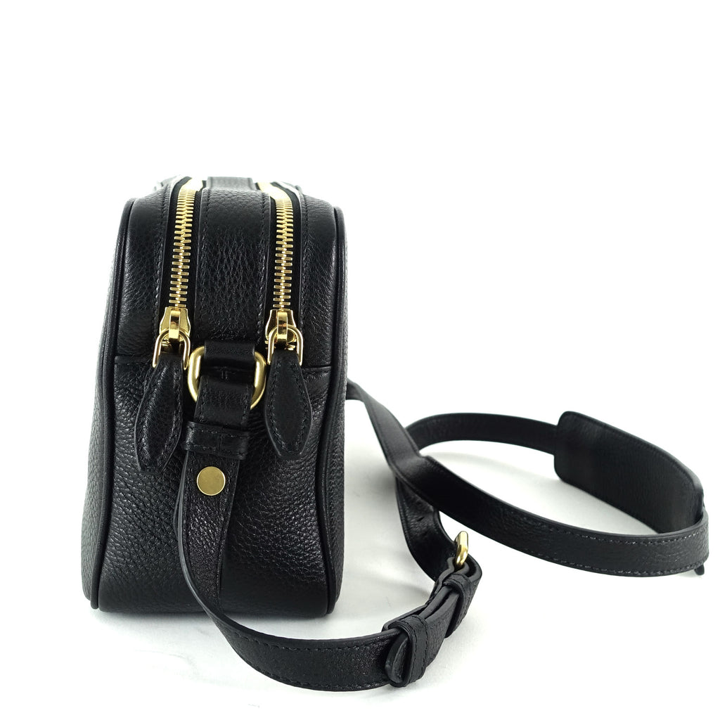 Double Zip Saffiano Leather Shoulder Bag