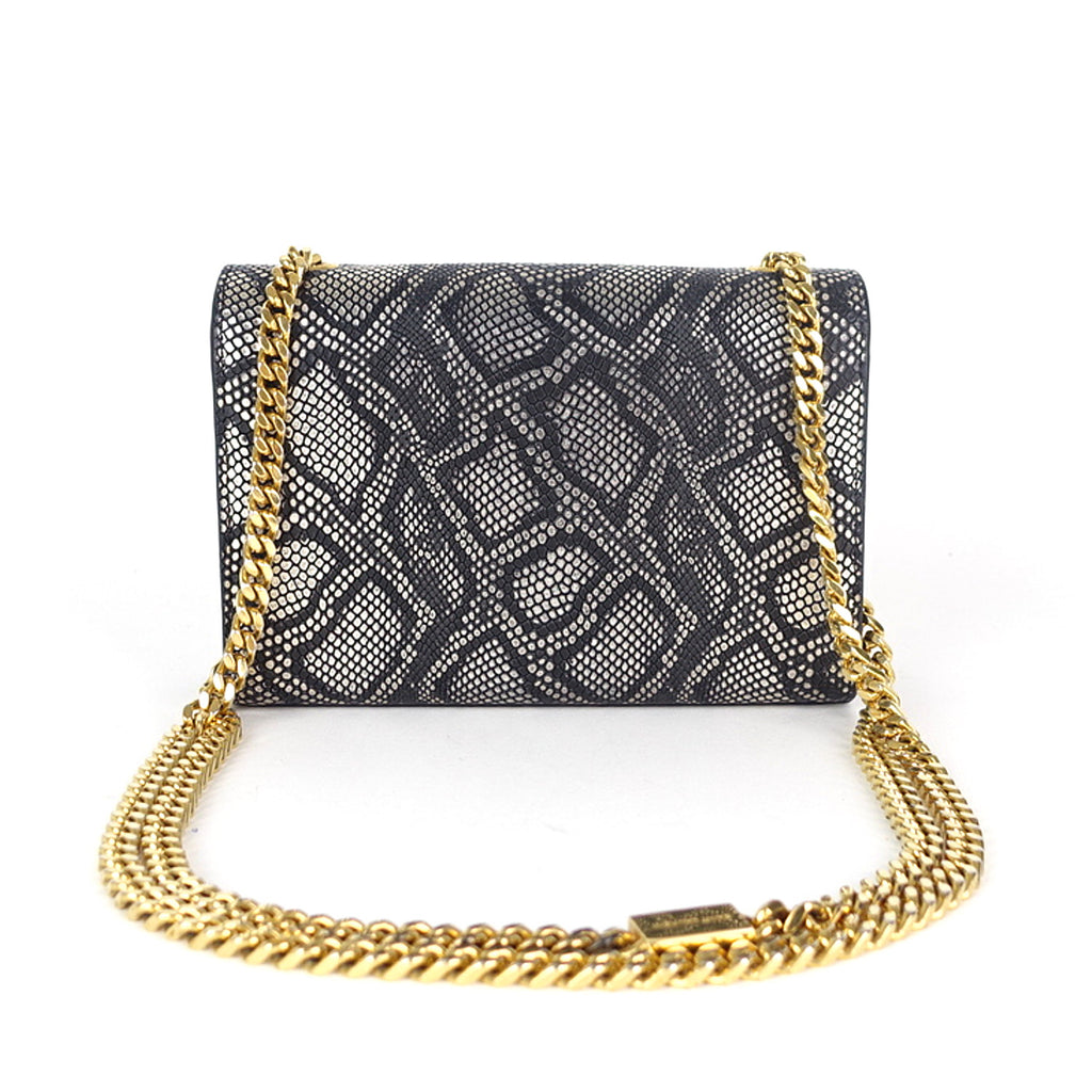 Snakeskin Print Calfskin Leather Bag