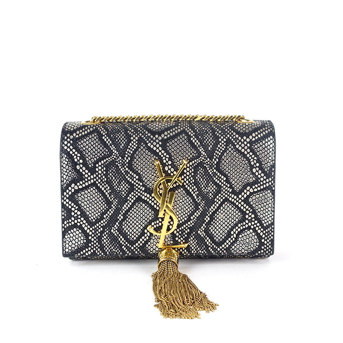 Snakeskin Print Calf Leather Bag