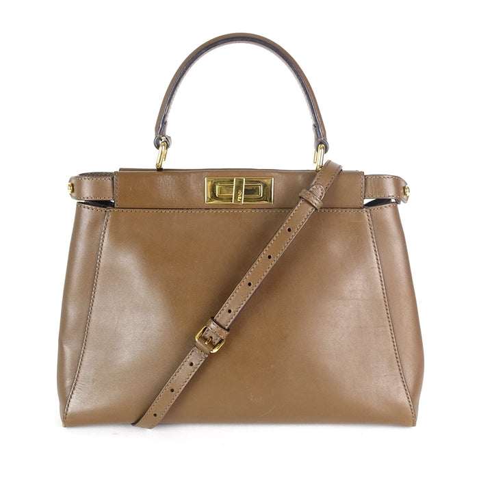 Regular Peekaboo Calfskin Leather Handbag
