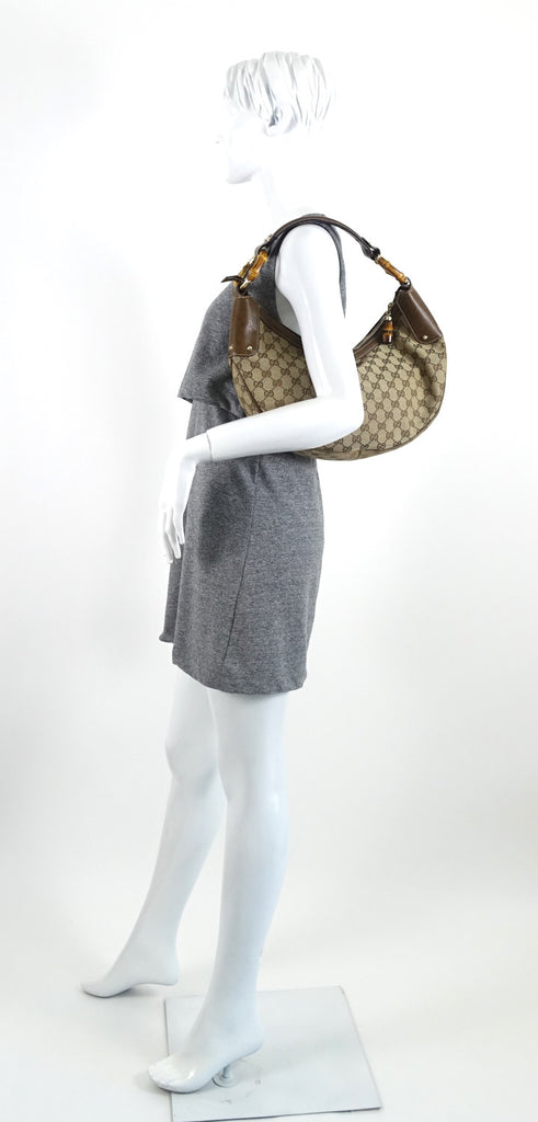 Bamboo Rings Monogram Canvas Hobo Bag