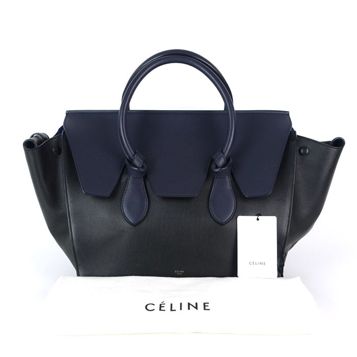 Tie Knot Two-Tone Smooth Calfskin Leather Tote Bag