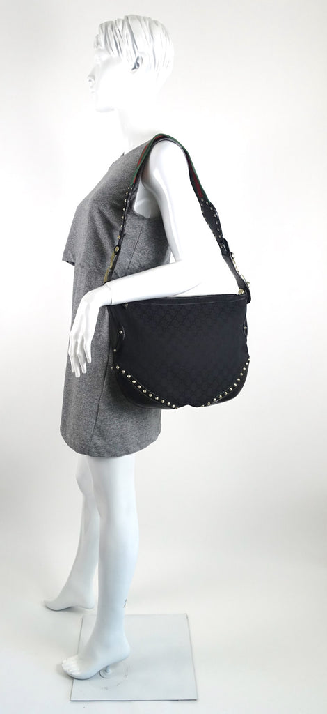 Pelham Web Medium Studded Canvas and Leather Hobo Bag