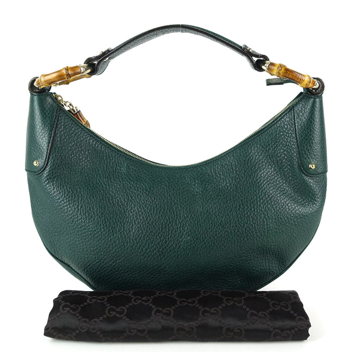 Leather Bamboo Ring Hobo Bag