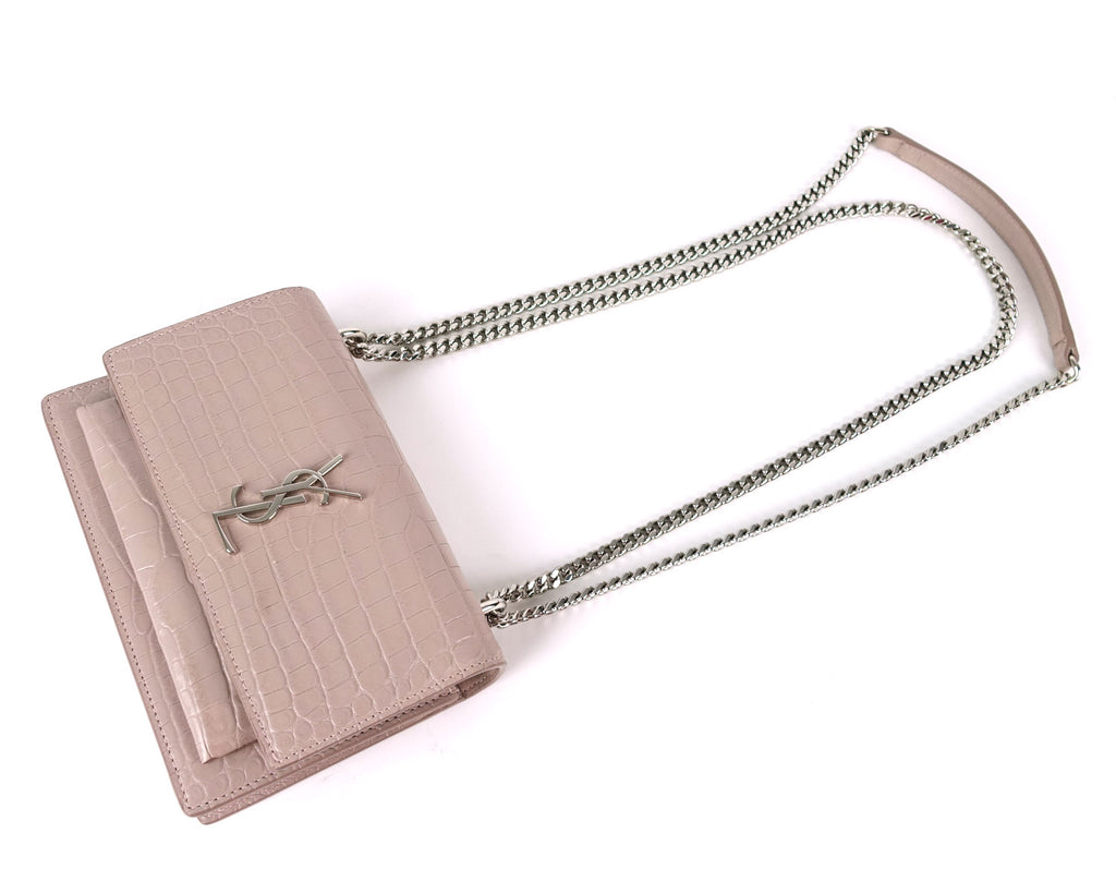Crocodile Embossed Calfskin Leather Chain Wallet