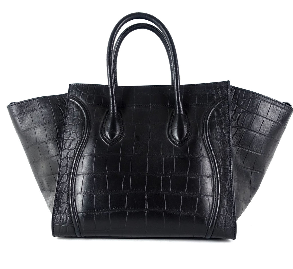 Phantom Crocodile Embossed Calfskin Leather Medium Handbag