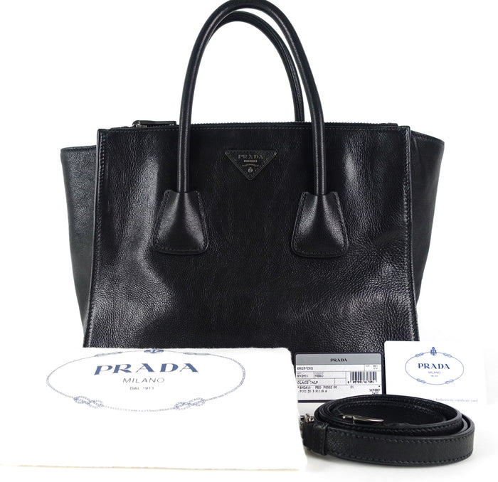 Twin Pocket Glace Calf Leather Tote Bag