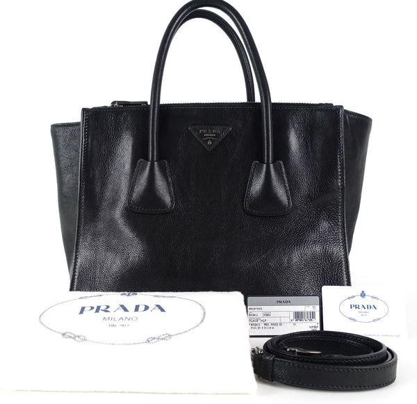 15fb858dc526a3 Prada Twin Pocket Glace Calf Leather Tote Bag – Poshbag Boutique