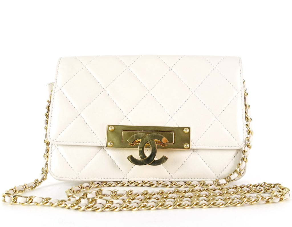 c75fb1fdf46248 Chanel Golden Class Quilted Lambskin Leather Wallet on a Chain – Poshbag  Boutique
