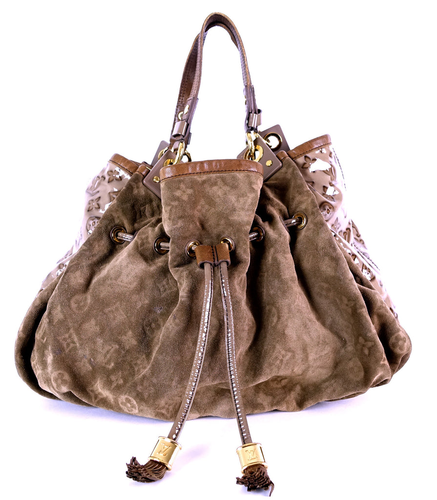 Irene Monogram Suede Hobo Bag