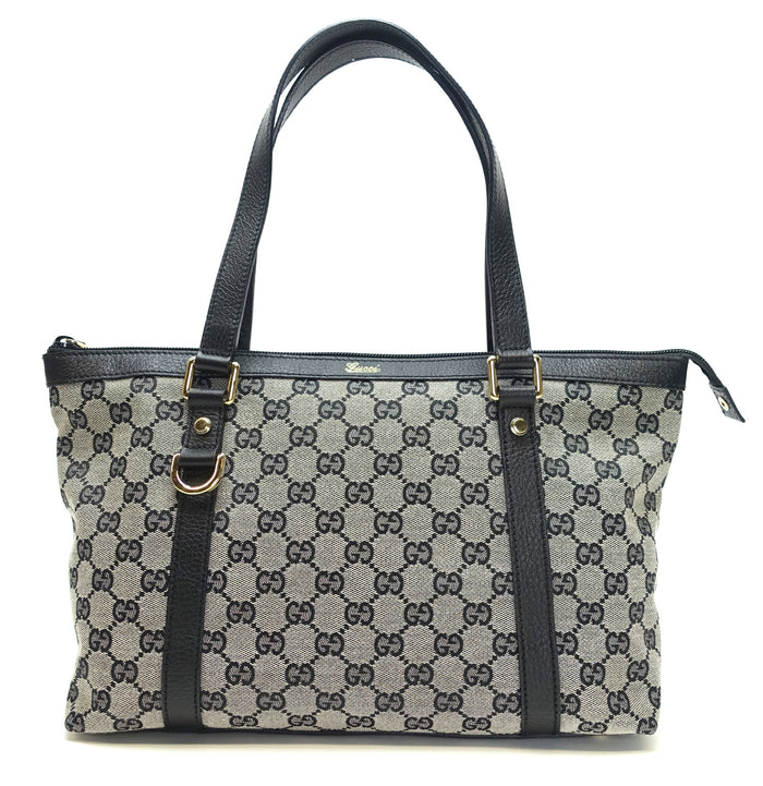 Abbey GG Monogram Canvas Zippered Tote Bag