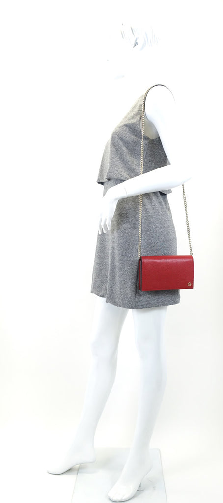 Betty Wallet on a Chain Pebbled Calfskin Leather Bag