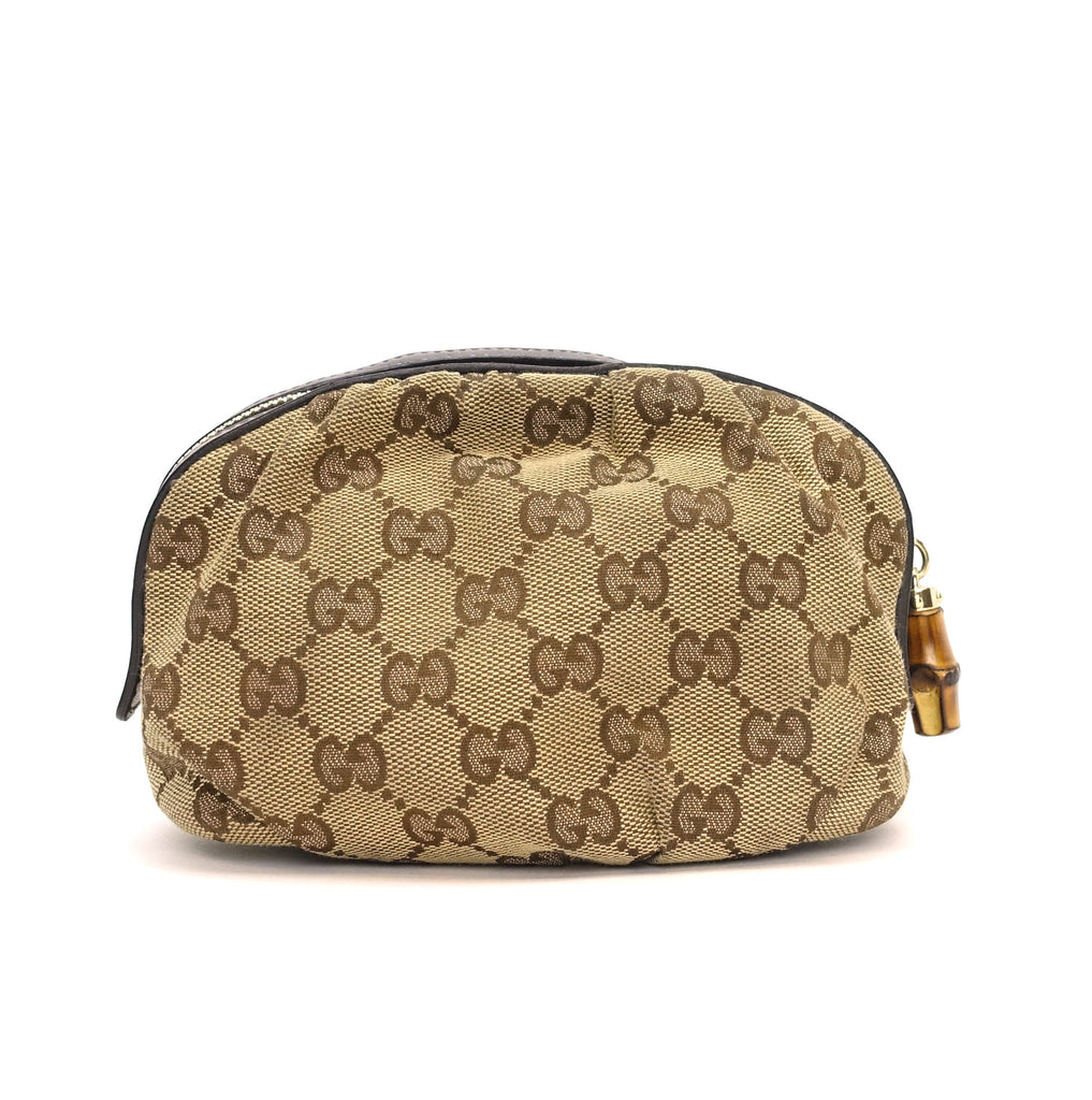 Medium GG Supreme Canvas and Leather Cosmetic Clutch Bag