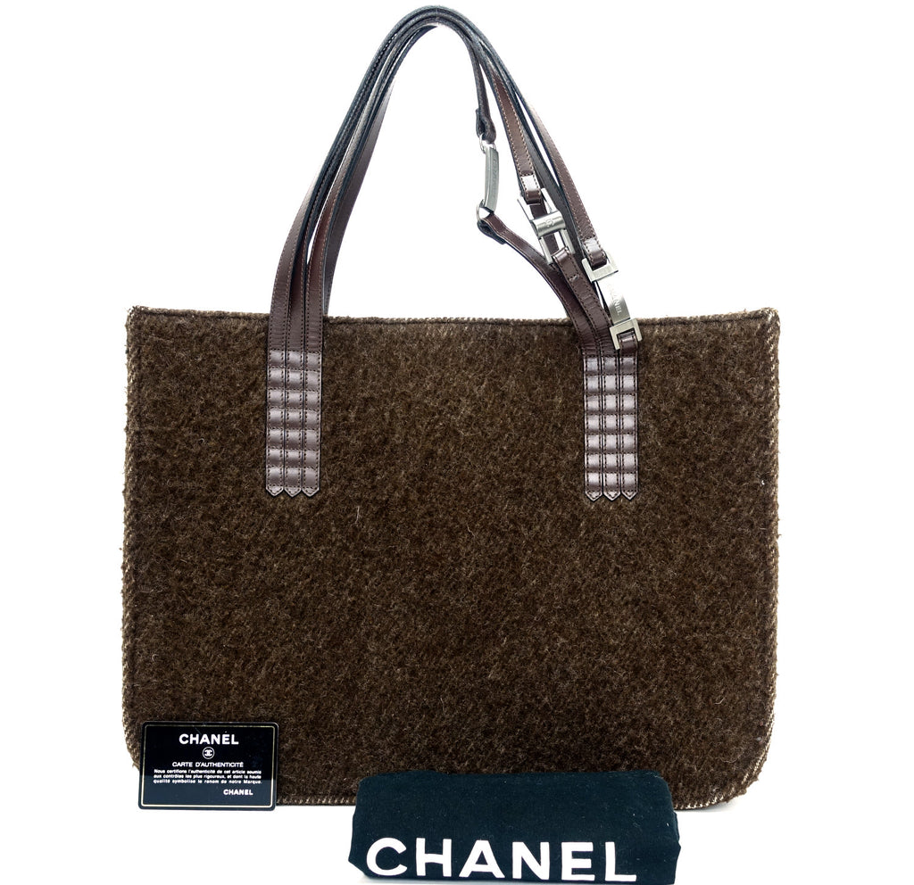 2cc516965ac Chanel Wool and Leather Large Tote Bag – Poshbag Boutique
