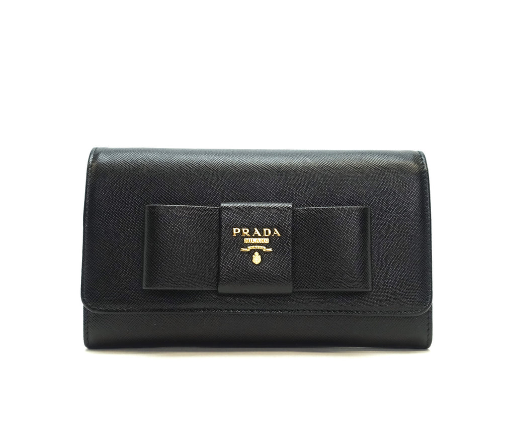 Lux Bow Wallet on a Chain Saffiano Leather Bag