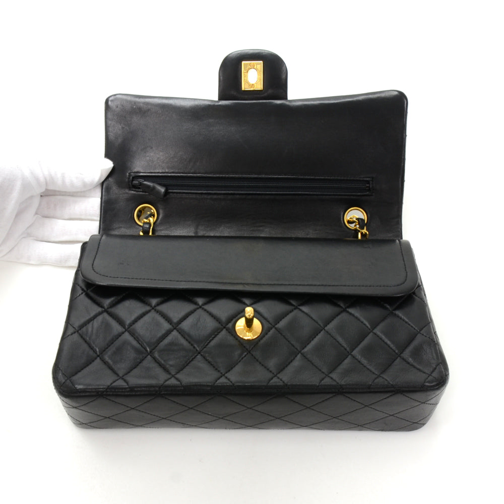 "10"" Lambskin Leather Double Flap Shoulder Bag"