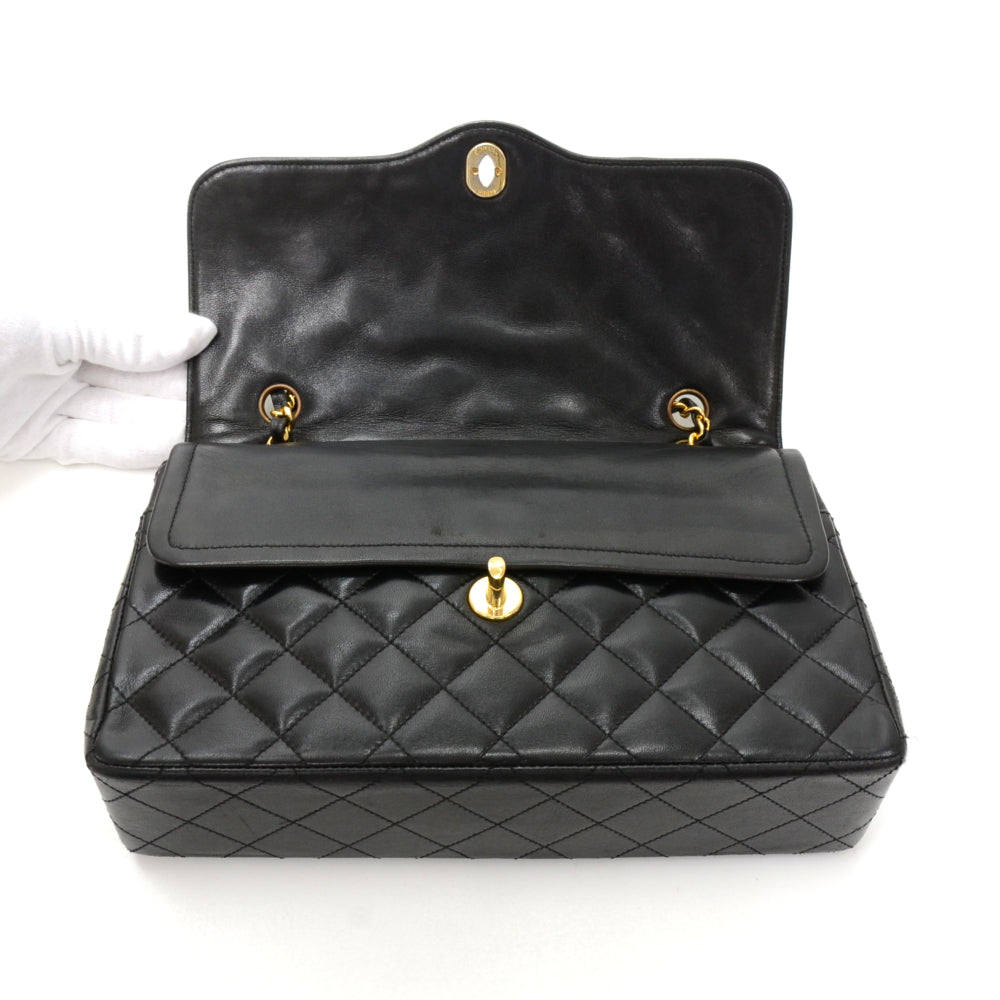 Lambskin Leather Double Flap Shoulder Bag - Paris Limited Edition