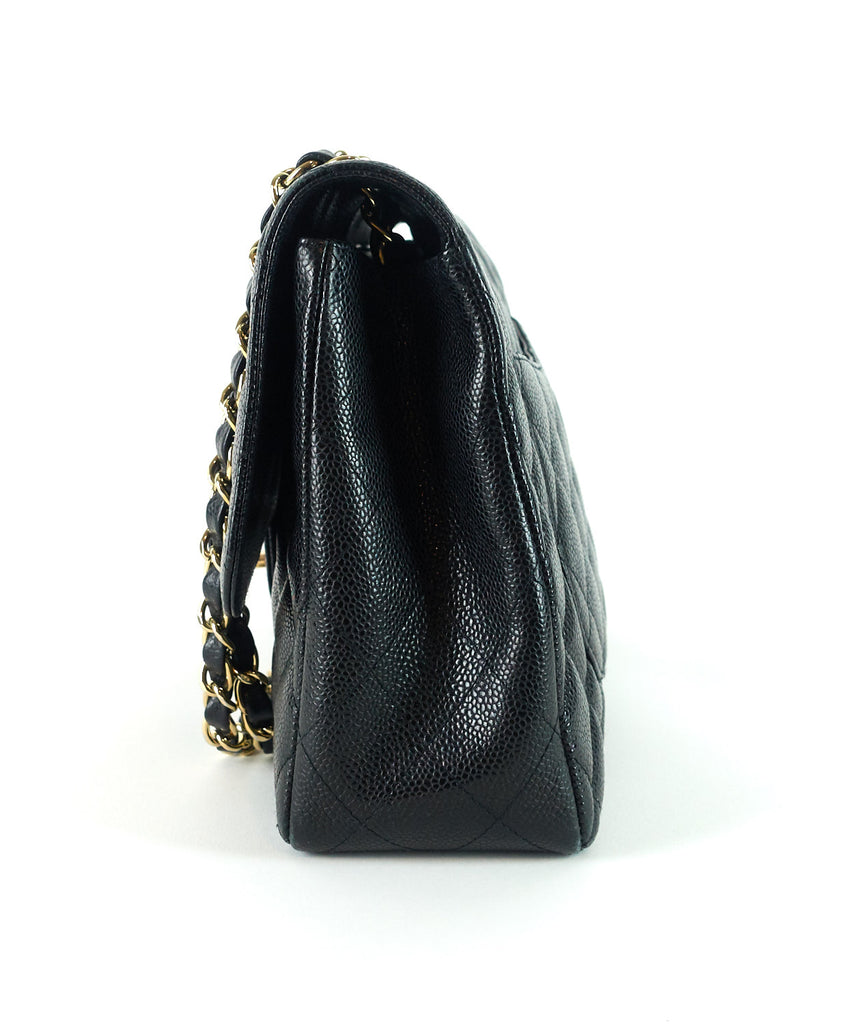 Classic Jumbo Caviar Leather Single Flap Shoulder Bag