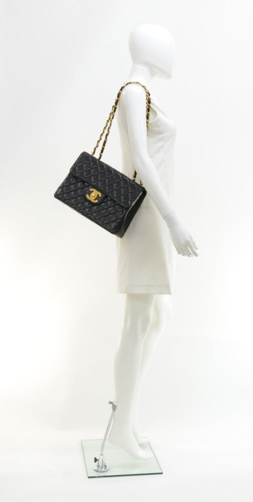 "12"" Lambskin Leather Single Flap Shoulder Bag"