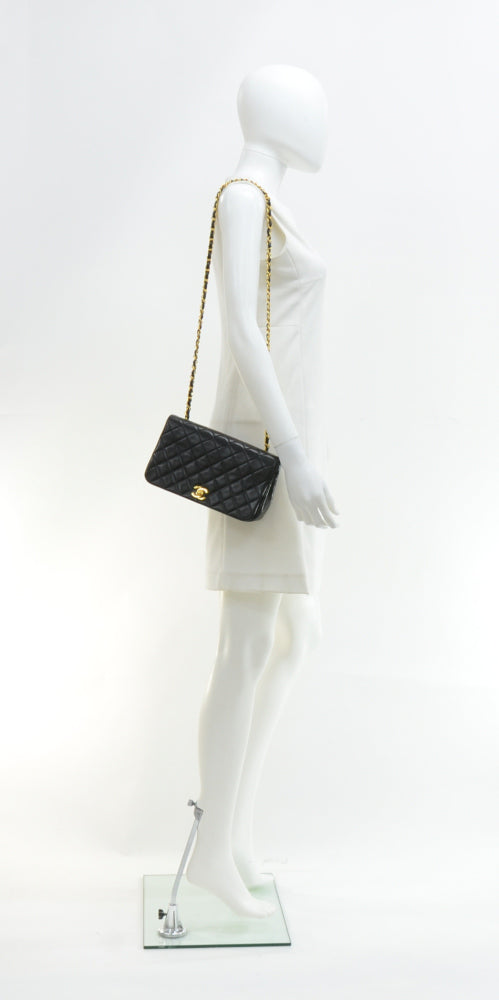 Classic Lambskin Leather Single Flap Shoulder Bag