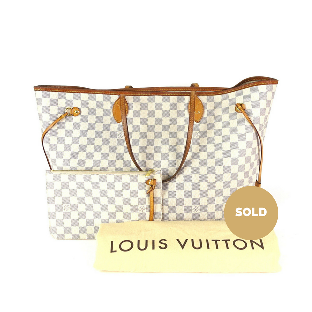 Neverfull GM Damier Azur Canvas Tote Bag with Pouch. Next. Louis Vuitton cac7482e67696