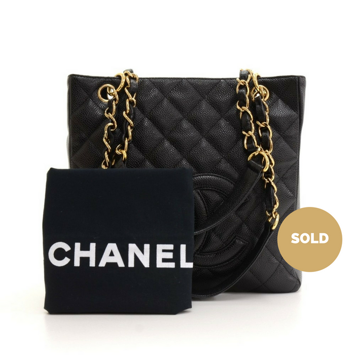 00119c43d36592 Petite Shopping Tote Quilted Caviar Leather Shoulder Bag · Chanel