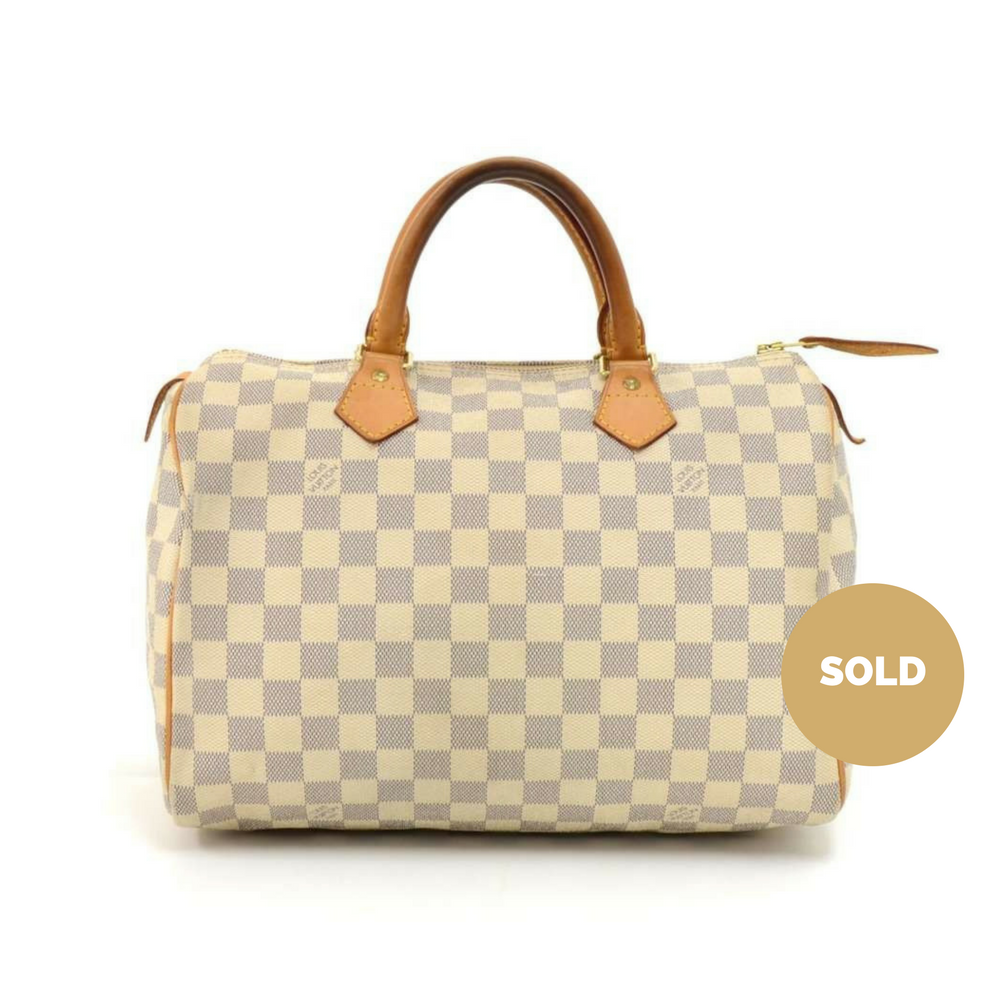 868ace7e4d9e Louis Vuitton Speedy 30 Damier Azur Canvas City Handbag – Poshbag ...
