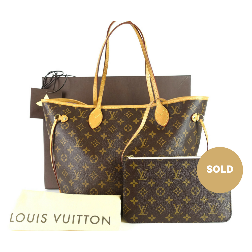 c96483e83e8c Louis Vuitton Neverfull MM Monogram Canvas Tote Bag with Pochette ...
