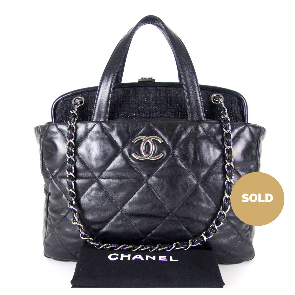 326ad74fd8ad Portobello Quilted Glazed Calfskin Leather and Tweed Frame Shoulder Bag.  Next. Chanel