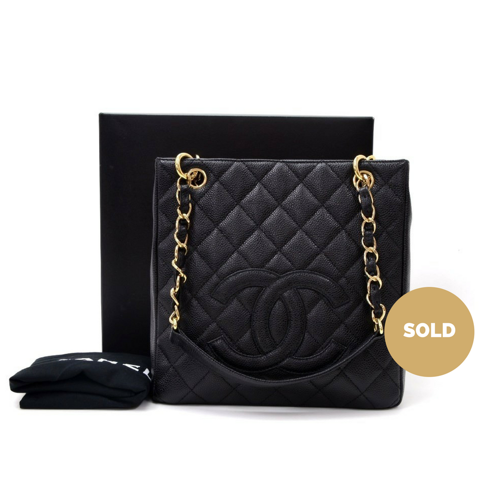 9134fedeede4 Petite Shopping Tote PST Quilted Caviar Leather Tote Bag. Next. Chanel