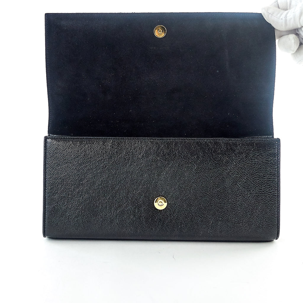 Cassandre Grain de Poudre Calf Leather Clutch Bag