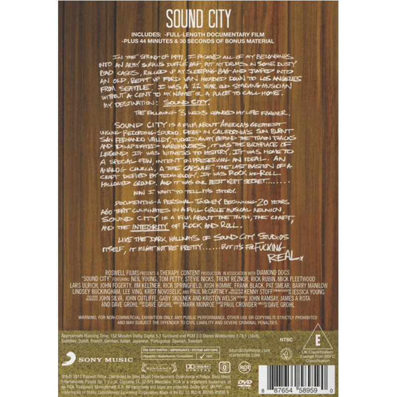 Sound City Blu-Ray / DVD - Foo Fighters