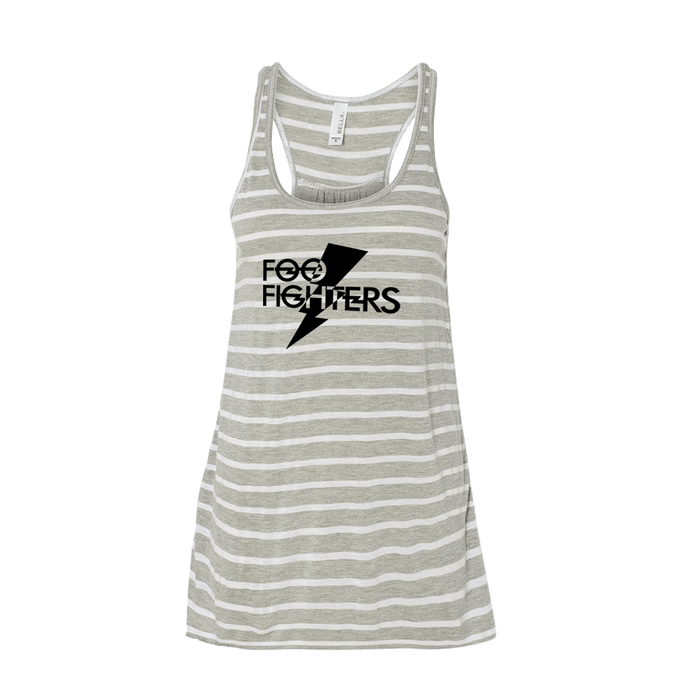 Bolt Flowy Racerback Tank - Grey Stripe - Foo Fighters