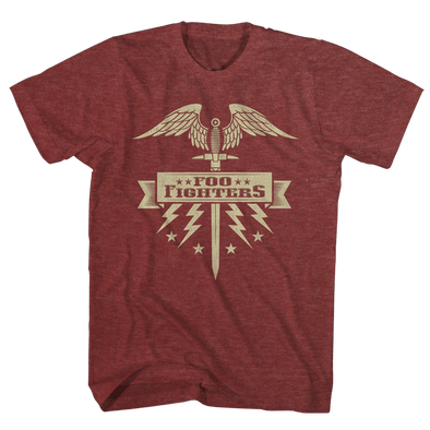 Flying Sword Burgundy Tee - Foo Fighters