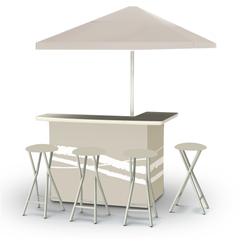 Classic Tan - Deluxe Set - Bar, Umbrella & 4 Stools