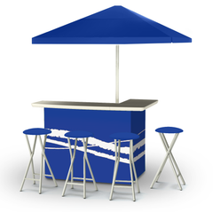 Classic Blue - Deluxe Set - Bar, Umbrella & 4 Stools