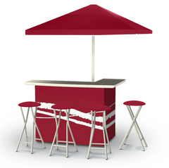 Classic Burgundy - Deluxe Set - Bar, Umbrella & 4 Stools