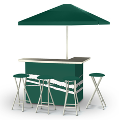 Classic Green - Deluxe Set - Bar, Umbrella & 4 Stools