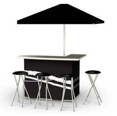 Classic Black - Deluxe Package - Bar, Umbrella & 4 Stools