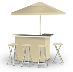 solid-khaki-bar-umbrella-stools