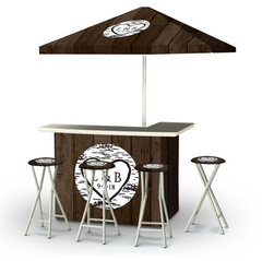 wedding-dark-wood-personalized-bar-umbrella-stools