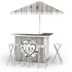 wedding-white-barn-wood-personalized-bar-umbrella-stools