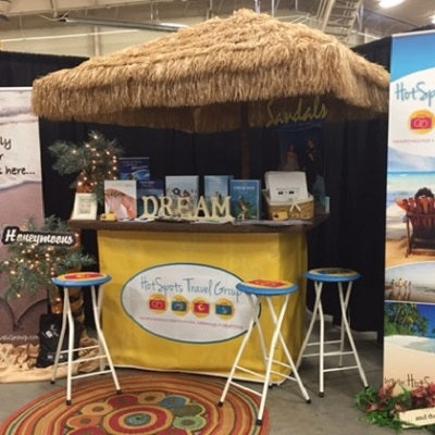I wanted to let you know we love our customized tiki hut wrap and stools, they came out beautifully. Thank you we are very happy with your services and the tiki hut! Thank you again for all your help. - JANET A. - WINDSOR, CO