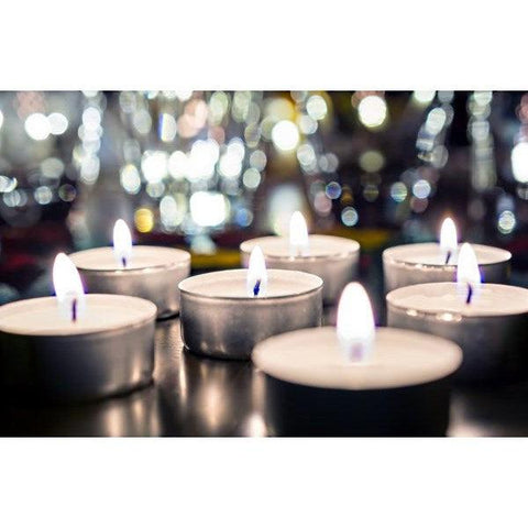 set of 12 unscented tea light wax candles with aluminum base NEW