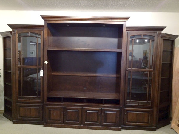 Victorian 5 pc Wall Unit shown in Brown Maple/Rich Tobacco