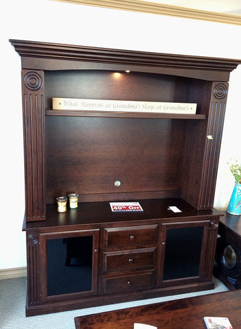 Victoria TV Cabinet with Hutch shown in Cherry with Burnt Umber stain.