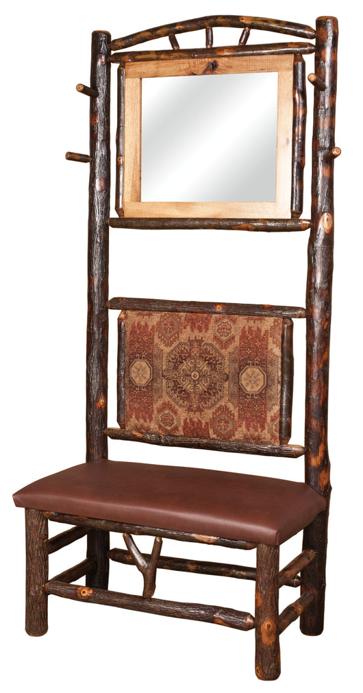 The rustic charm can not be denied in this entrance hall seat.  Made from Rustic Hickory.