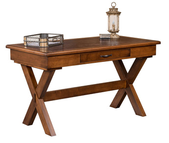 Beckman Writers Desk shown in Brown Maple/Chocolate Spice with a leather insert top