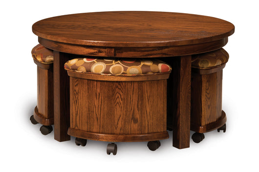 Round Table Bench Set in lowered position.  Set shown in Oak with Asbury stain