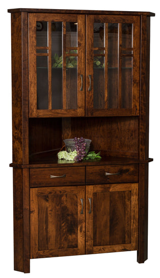 Acadia Corner Hutch shown in Cherry with an Asbury stain